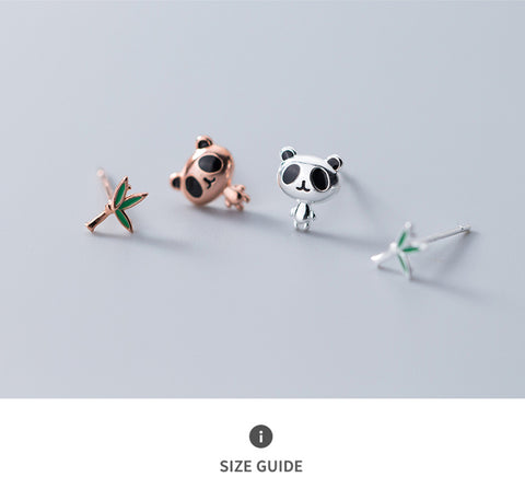 100% 925 Asymmetry metric Panda Bamboo Stud Earring - Pandarling