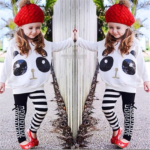 Kids Girls Panda T-shirt+Striped  Pants Clothes - Pandarling