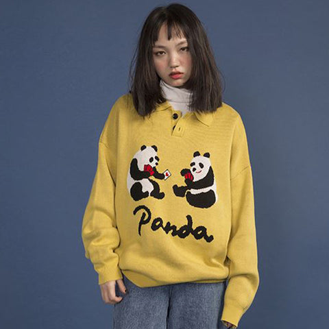 Ladies Pullover Sweater Oversized Warm Knit Jumper Top Pandas - Pandarling