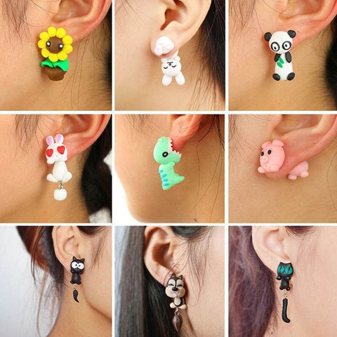 Handmade Polymer Clay Animal Earrings Lovely Panda For women - Pandarling
