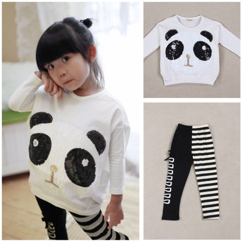 Kids Baby Girls Panda T-Shirt Top+Striped - Pandarling