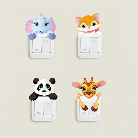 Panda Elephant Cat Giraffe Light Switch Stickers For Kids Rooms - Pandarling