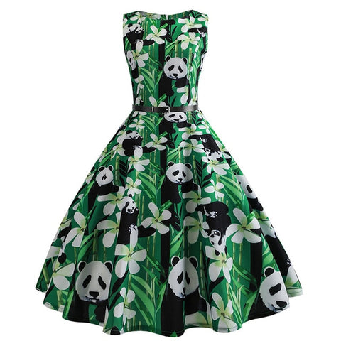 Panda Print Summer Dress for Women - Pandarling