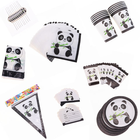 Panda Theme Birthday Party Straw Plate Tablecloth set For decoration - Pandarling