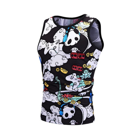 Cartoon Panda Print Tank Top Sleeveless Casual Vest - Pandarling