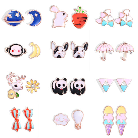 Stud Earrings Cartoon Animals Puppy Panda Earrings - Pandarling