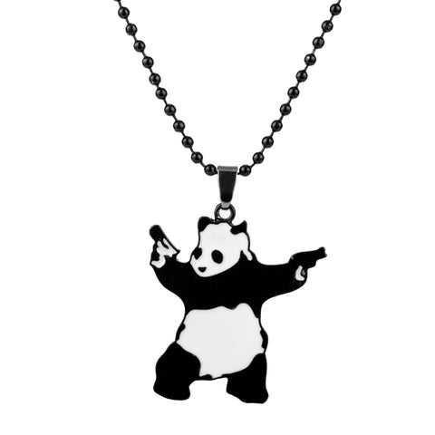 Cute Panda With Guns Enamel Metal Pendant Necklace - Pandarling