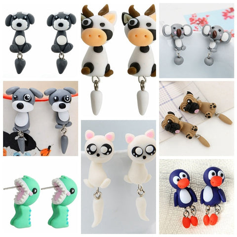 3D Cartoon Animal Cute Cat Lovely Panda Stud Earrings - Pandarling