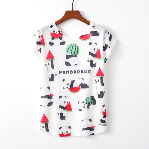 Panda Print T-shirt New Short Sleeve - Pandarling