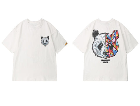 Summer Geometric Panda Printed Casual Male Short Sleeve - Pandarling