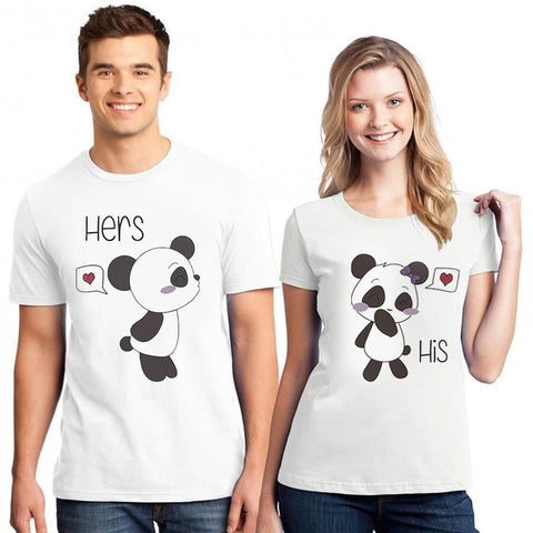 Panda T-shirts for Women Men Summer Lover Paired T-shirts - Pandarling