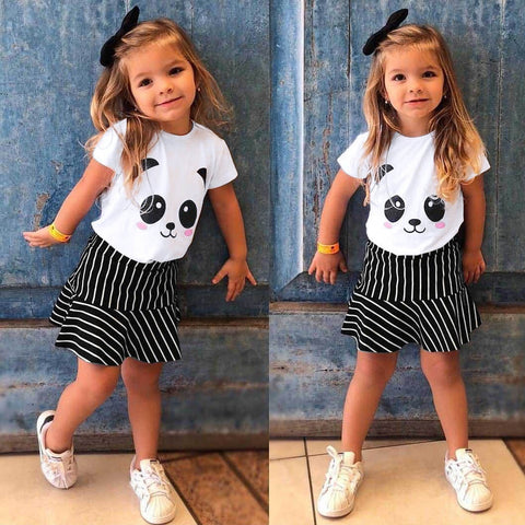 Panda Print Short Sleeve T-Shirt Pant Kids Baby Girls Clothing - Pandarling
