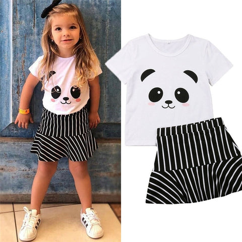 Toddler Panda Tshirt High Waist Skirt - Pandarling