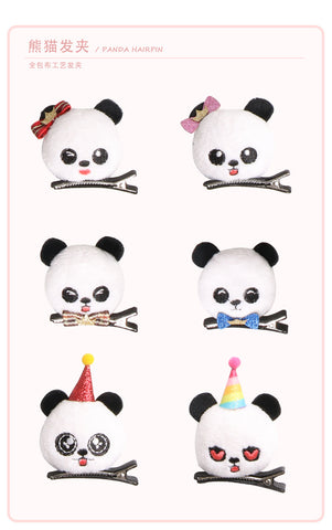 Plushed Panda Hairpins Barrettes - Pandarling