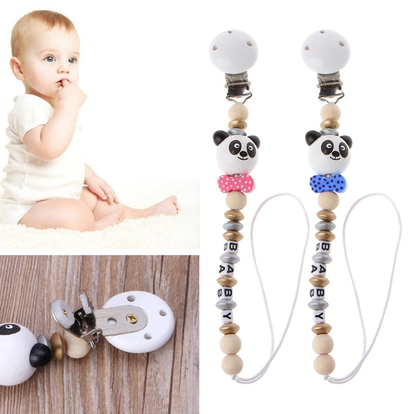 Baby Wooden Teething Dummy Pacifier Clip Bead Infant Soother Nipple Strap - Pandarling