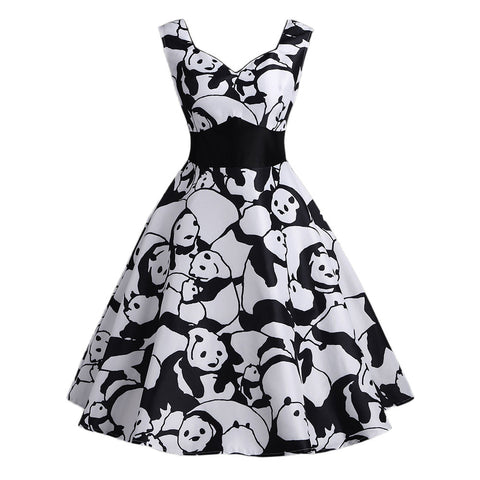 Panda Printed Sleeveless Strappy Summer dresses - Pandarling