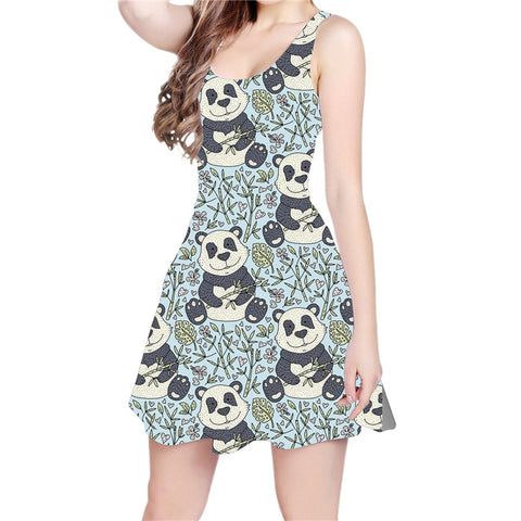 Panda With Bamboo 3D All Over Print Skater Dress - Pandarling