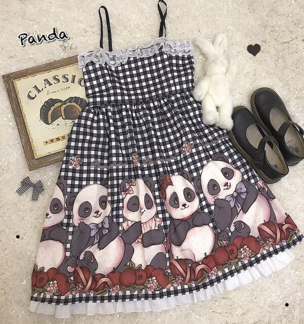 Lolita Lace Panda Vintage Plaid Sleeveless Girls Dress - Pandarling