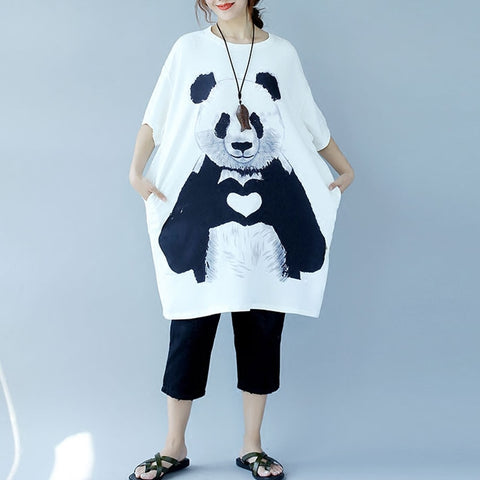 Summer Panda  Cartoon Printed Ladies Loose Sun Dress - Pandarling