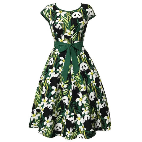 Women  Dress Bamboo Leaves Flowers Panda Print - Pandarling