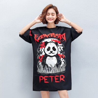 Cartoon Panda Loose Big Size Dresses Summer - Pandarling