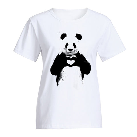 Summer Girls Panda Printting Short Sleeve Blouse - Pandarling