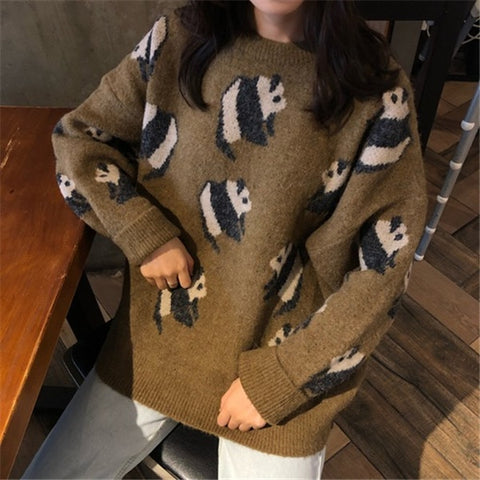 Fashion Panda Women O-neck Long Sleeve Sweater - Pandarling