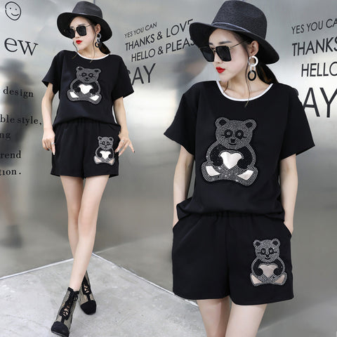 diamonds panda short sleeve T-shirt+shorts suit - Pandarling