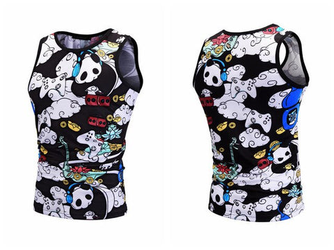Summer Vest 3D Cartoon Panda Printed Tank Tops Homme Streetwear - Pandarling