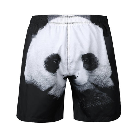 Casual Plus Size Panda 3D Printed Beach Board Shorts - Pandarling
