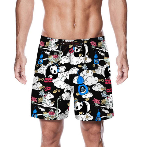 Fashion Panda Printed Men Casual Shorts Beach Short Pants - Pandarling