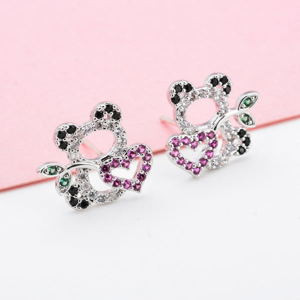 Sweet and romantic little panda zircon earrings - Pandarling
