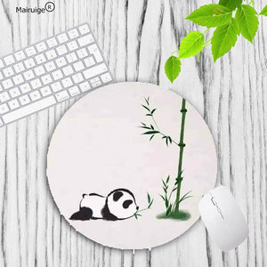 Panda with Bamboo Leaves Round Computer Print Mouse Pad Mat - Pandarling