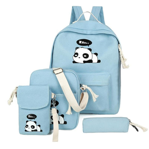 4pcs/Set Panda Print Student Schoolbags Backpack Canvas - Pandarling