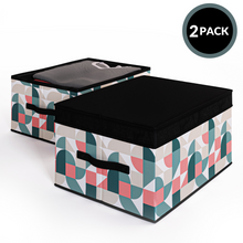 Load image into Gallery viewer, 2 Pack Foldable Storage Box with Lids & Strap Handles (Large) - Lined with Organic Cotton Fabric - Natural Nature