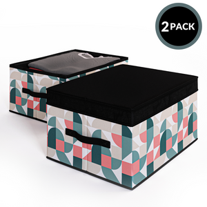 2 Pack Foldable Storage Box with Lids & Strap Handles (Large) - Lined with Organic Cotton Fabric - Natural Nature