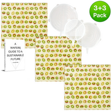 Load image into Gallery viewer, WAFE - Reusable Beeswax Food Wraps - Kiwi Edition - Pack of 3+3