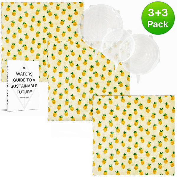 WAFE - Reusable Beeswax Food Wraps - Pineapple Edition - Pack of 3+3