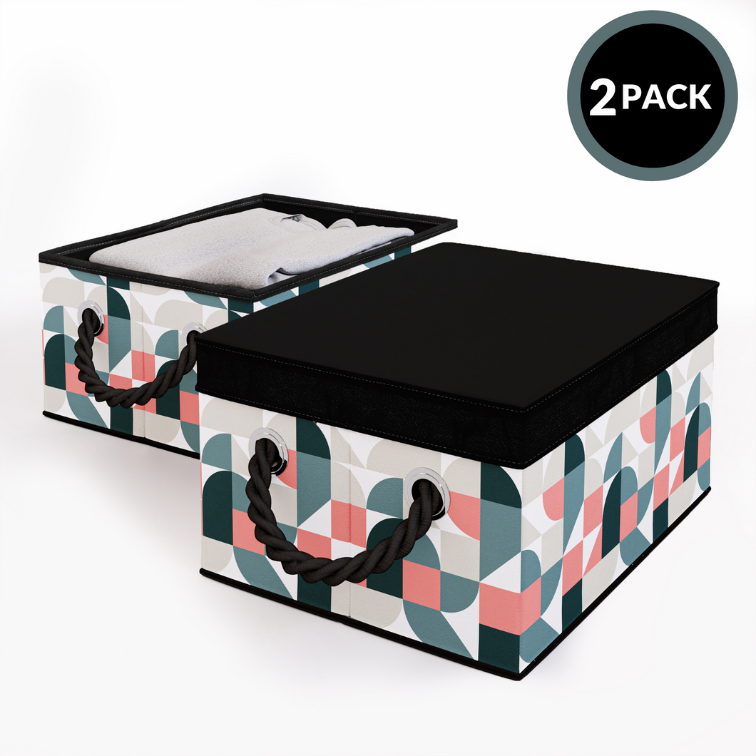 2 Pack Foldable Storage Box with Lids & Rope Handles (Regular) - Lined with Organic Cotton Fabric - Natural Nature