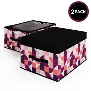 2 Pack Foldable Storage Box with Lids & Strap Handles (Large) - Lined with Organic Cotton Fabric - Punchy Peach
