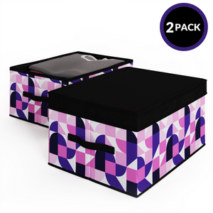 2 Pack Foldable Storage Box with Lids & Strap Handles (Large) - Lined with Organic Cotton Fabric - Red Violet