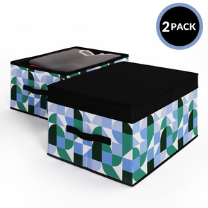 2 Pack Foldable Storage Box with Lids & Strap Handles (Large) - Lined with Organic Cotton Fabric - Sky Blue