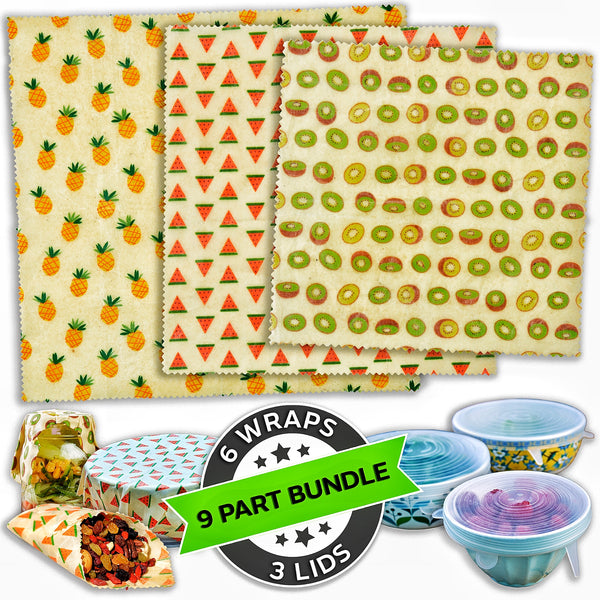 WAFE - Reusable Beeswax Wraps - Tutti Frutti Edition - Pack of 6+3