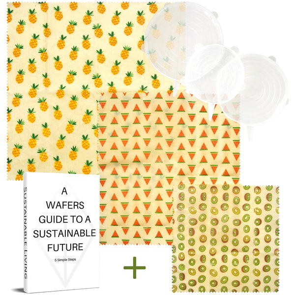 WAFE - Reusable Beeswax Food Wraps - Tutti Frutti Edition - Pack of 3+3