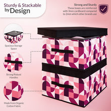 Load image into Gallery viewer, 2 Pack Foldable Storage Box with Lids & Strap Handles (Large) - Lined with Organic Cotton Fabric - Punchy Peach