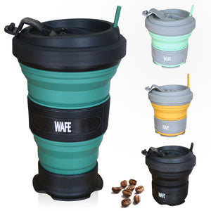 WAFE - Forest Green Spill Proof Travel Mug With Silicon Lid - Best Foldable Coffee Mug