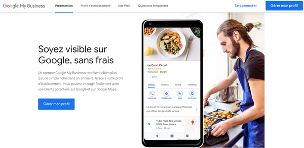 Page d'accueil Google My Business