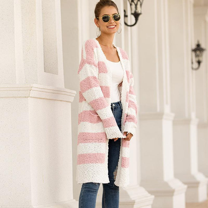 Patchwork Color Knitted Sweater Cardigan