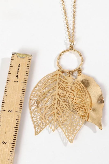 Layered Metal Leaf Pendant Long Necklace
