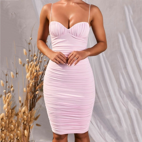 Summer Sexy Deep V-neck Backless Push Up Padded Bodyocn Ruched Dress